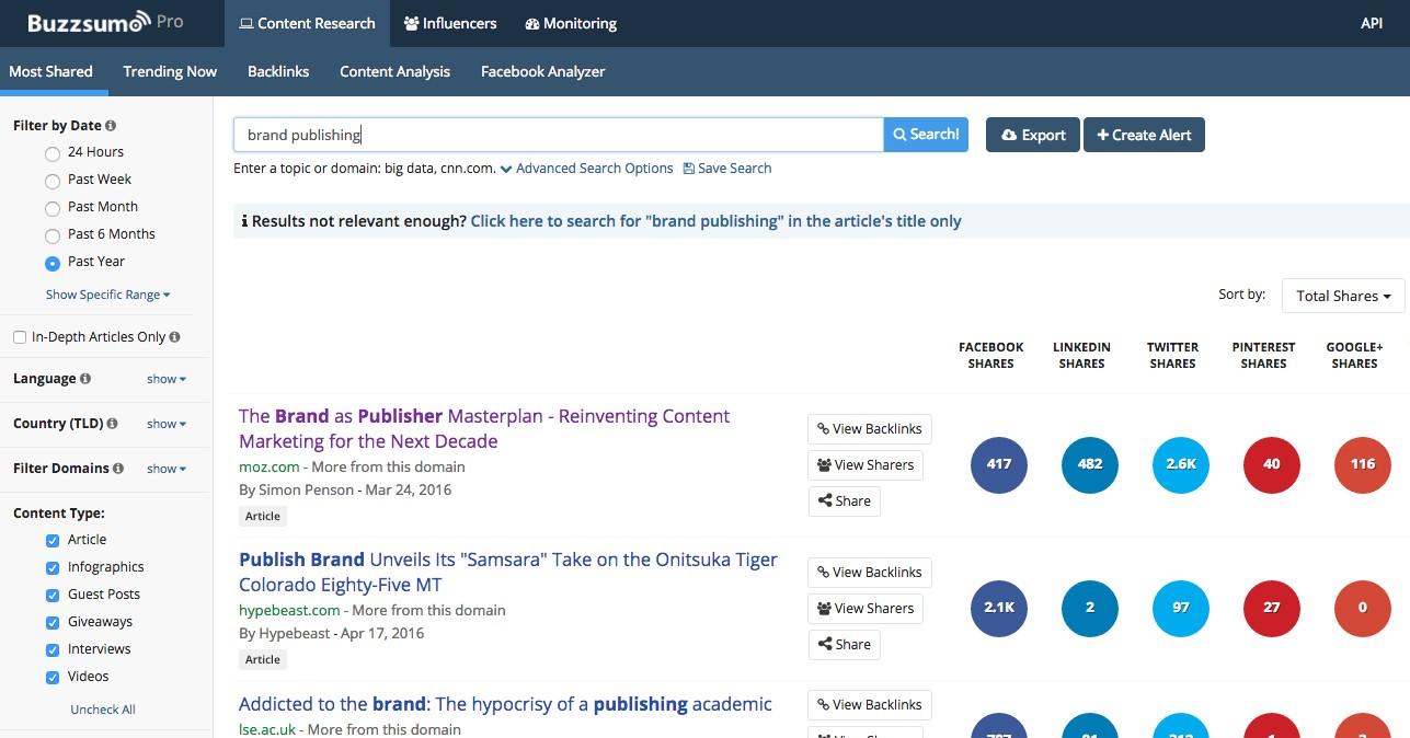 Why You Should Use BuzzSumo, The One Content Marketing Tool We Can't Live  Without | by Steven Aguiar | BlueWing Blog | Medium